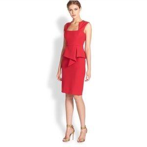 {BCBGMAXAZRIA} size 4 red peplum zipper dress